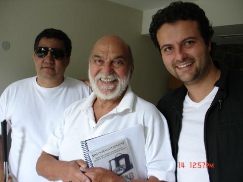 O produtor Marçal Souza, Lima Duarte e diretor Marcelo Galvão
