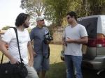 Chegando no Set: Rodrigo Tavares (diretor fotografia), Mauro Lima (making-of) e o diretor Marcelo Galvão.
