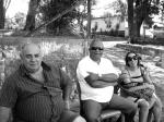 Os motoristas Seu Gilberto e Carlinhos e Juliana Motta (assistente de objetos)