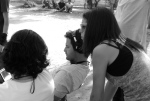 Rodrigo (diretor de fotografia), Marcelo (diretor) e Andrea (1a assistente de direção)