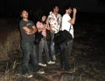 Makino (câmera), Andrea Armentano (1a assistente de direção), Marcelo Galvão (diretor) e Rodrigo Tavares (diretor de fotografia)