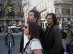 Andrea Armentano (1a assistente de direção), Marcelo Galvão (diretor) e Rodrigo Tavares (diretor de fotografia)
