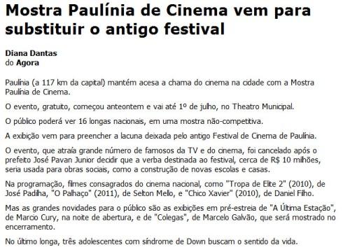 Mostra Paulínia de Cinema vem para substituir o antigo festival