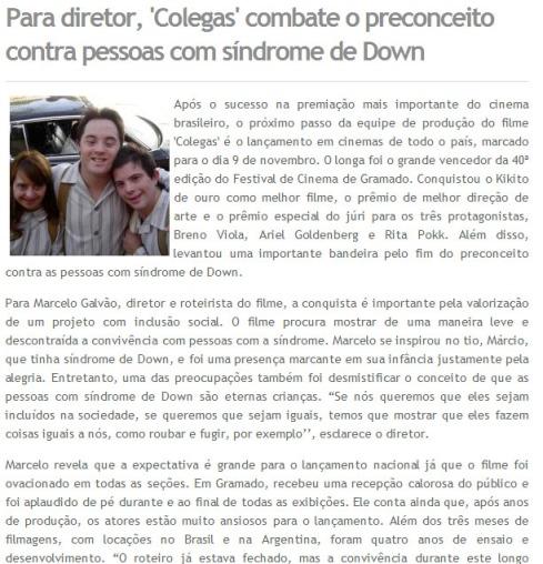 Para diretor, 'Colegas' combate o preconceito contra pessoas com síndrome de Down