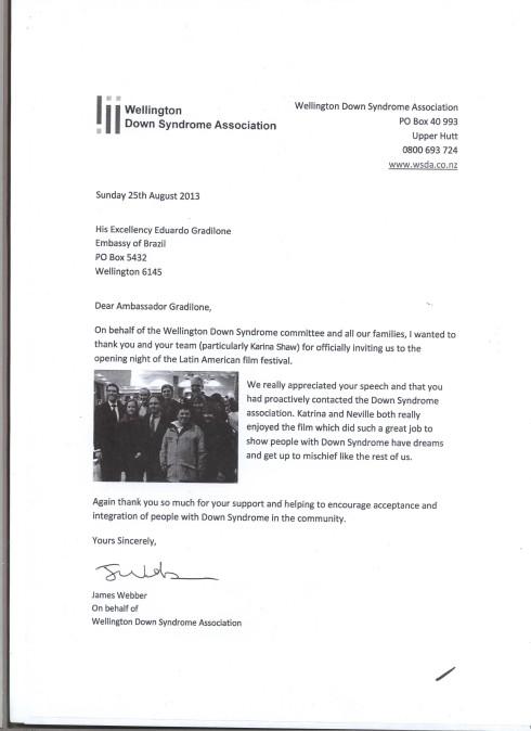 Carta recebida da Associação de Síndrome de Down de Wellington