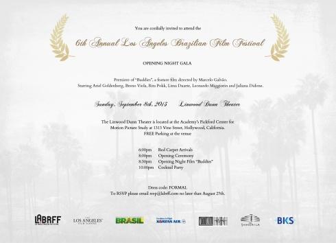 Convite da noite de gala que teve Buddies como filme de abertura.
