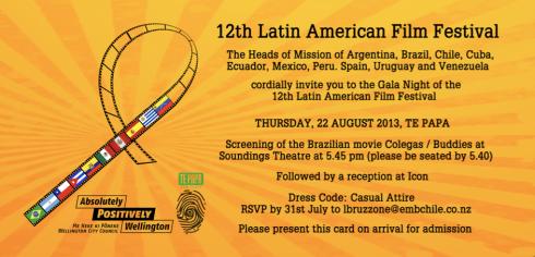 Convite para a noite de gala de Buddies no Soundings Theatre, teatro exclusivo do renomado museu nacional Te Papa